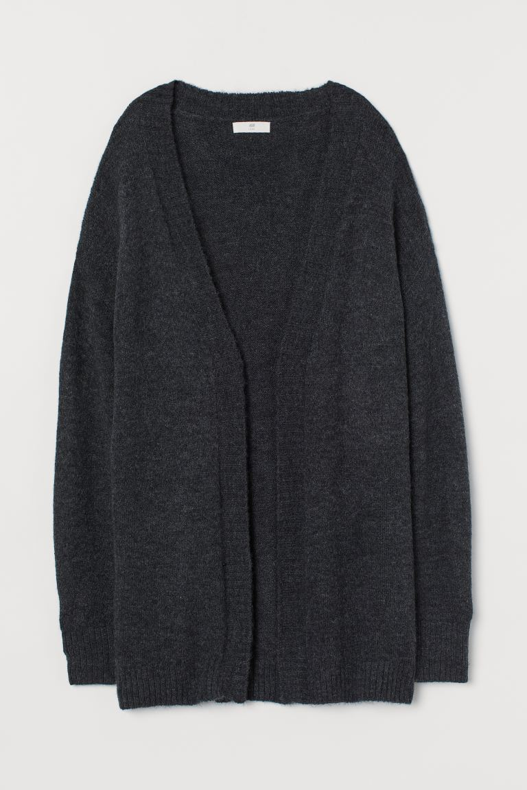Cardigan with no buttons - Dark grey marl - Ladies | H&M
