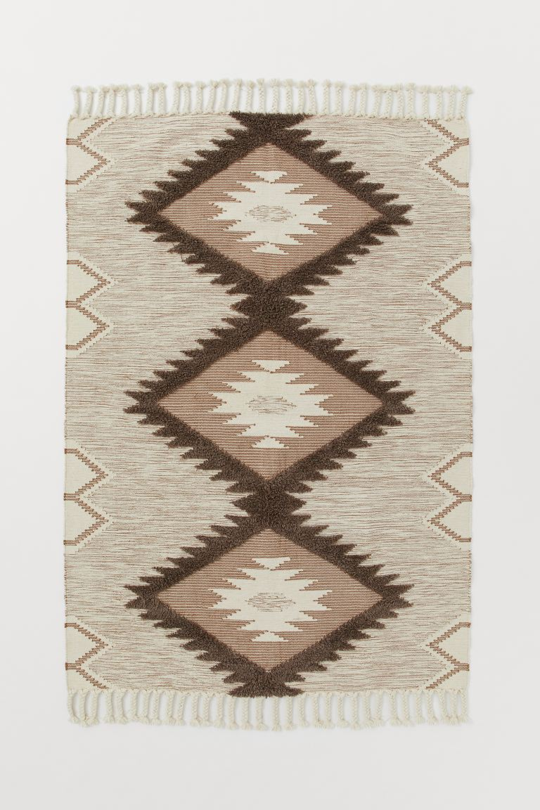 Tapis en laine mélangée - Écru/marron - Home All | H&M FR