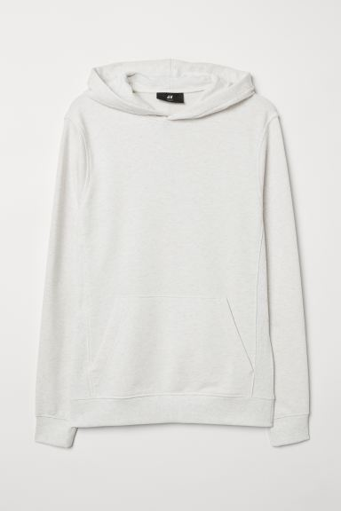 Capuchonsweater - Slim fit - Wit gemêleerd - HEREN | H&M NL