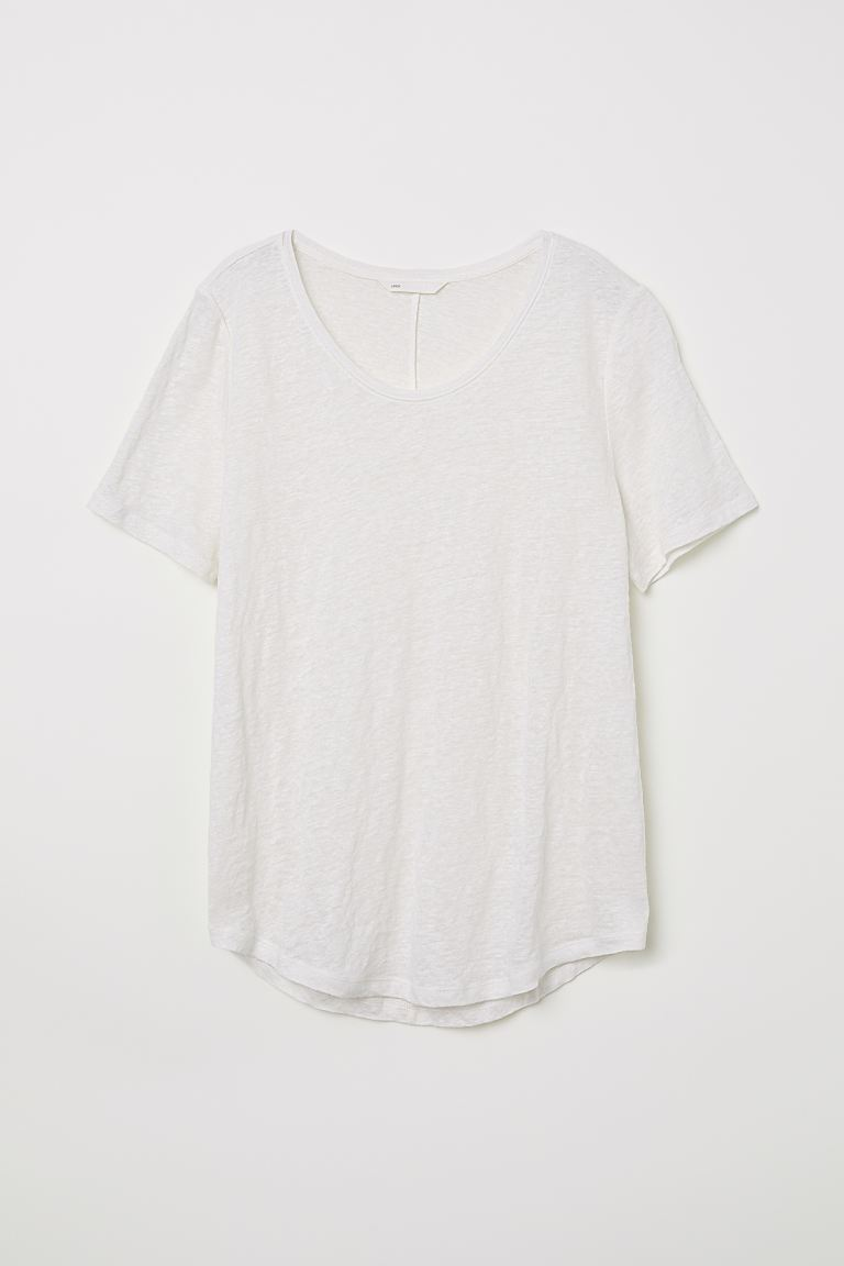 Round-necked Linen Top - Natural white - Ladies | H&M US
