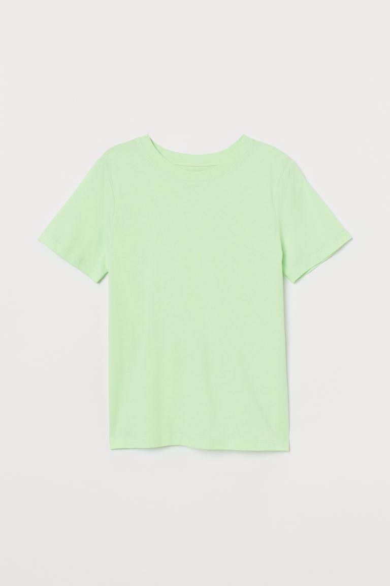 Cotton T-shirt - Light neon green - Kids | H&M GB