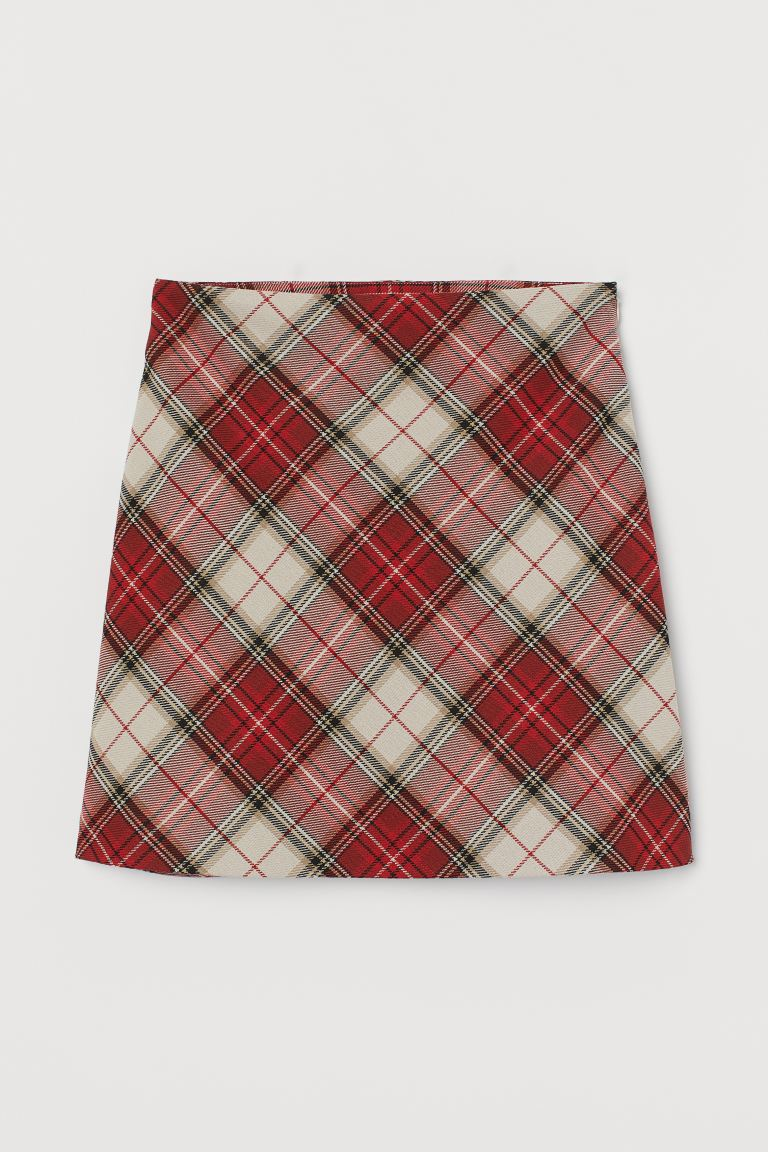 A-line skirt - Red/White checked - Ladies | H&M IN