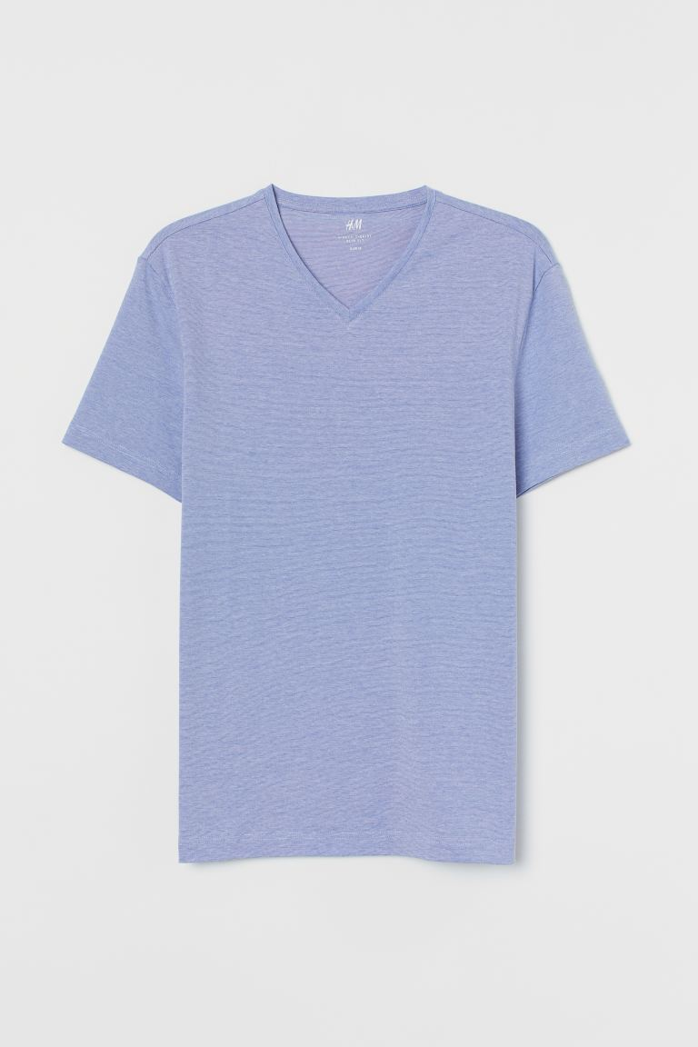 T-shirt met V-hals - Slim fit - Blauw/smalle strepen - HEREN | H&M BE