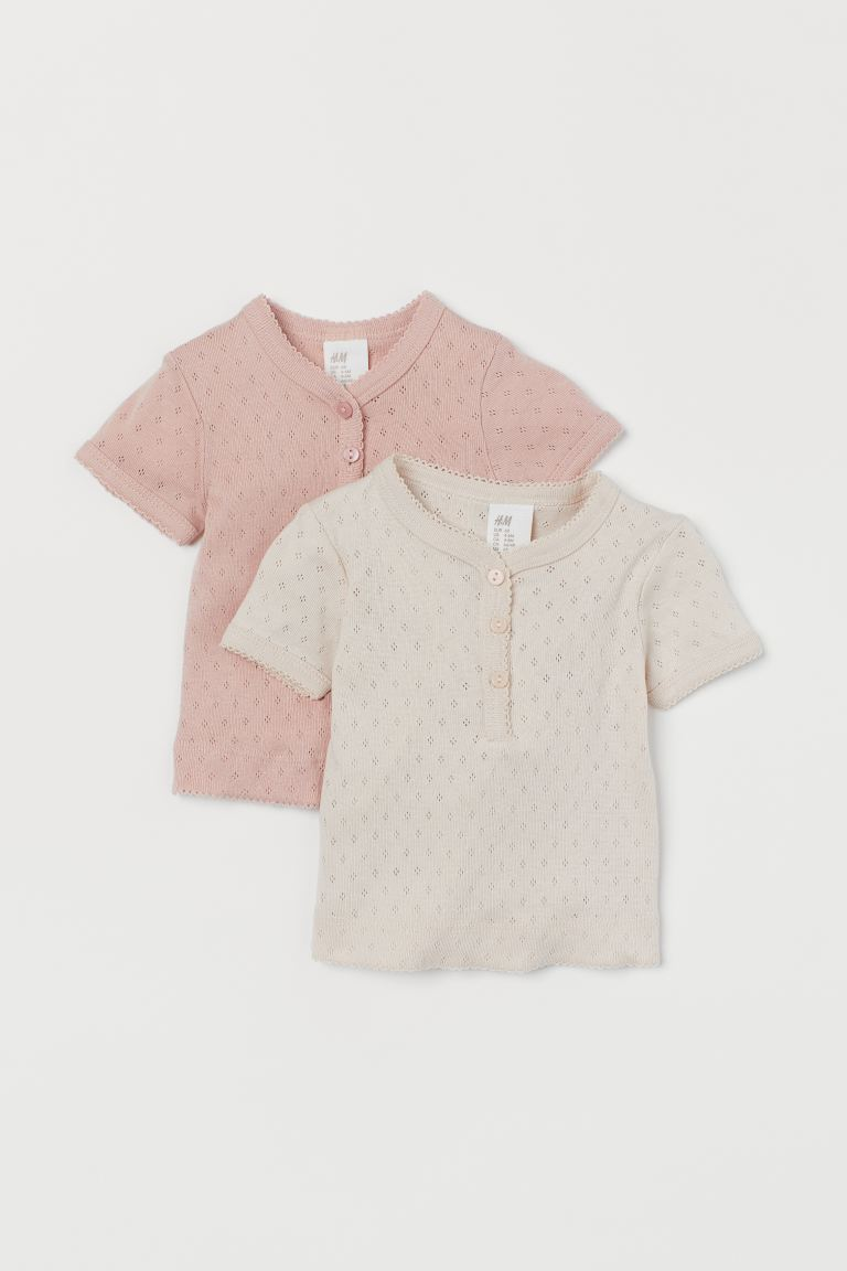 2-pack T-shirts - Powder pink/Light beige - Kids | H&M GB