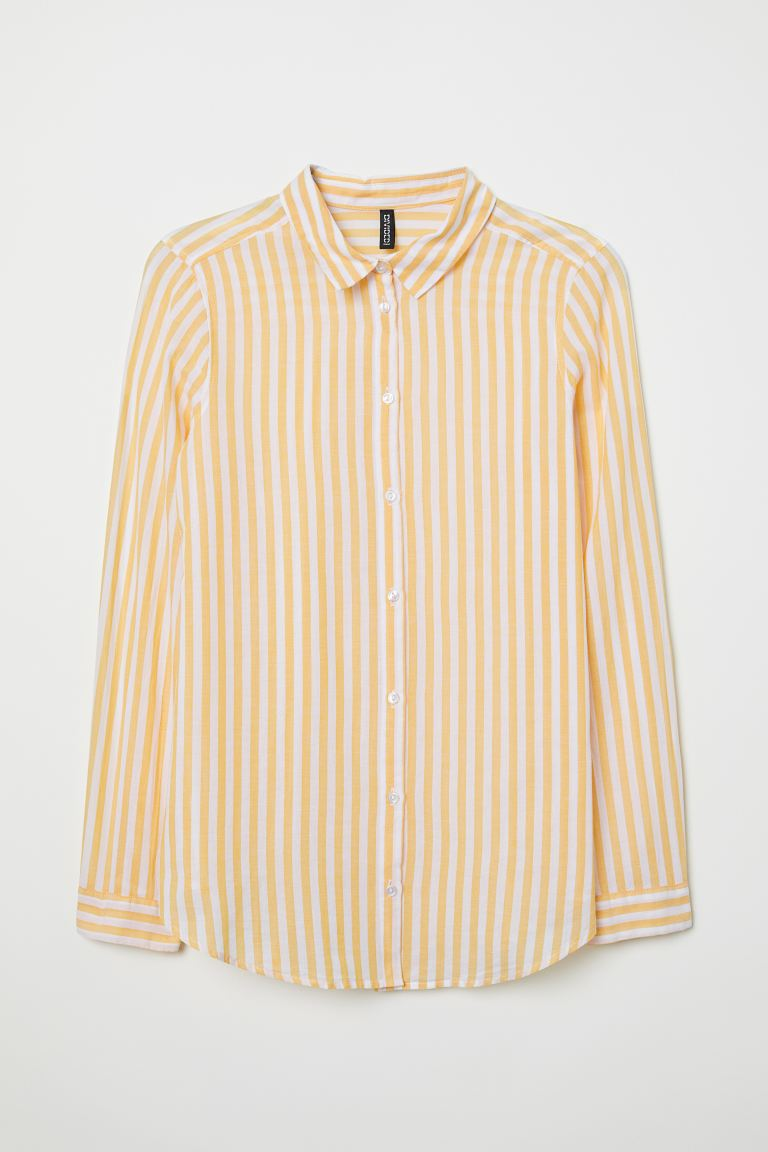 Cotton Shirt - Yellow/white striped - Ladies | H&M CA