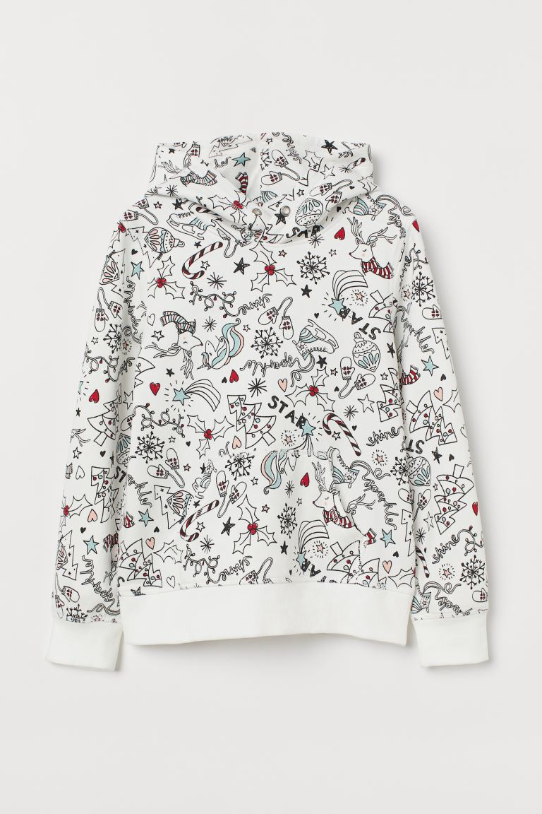 Hooded top with a motif - White/Christmas motif - Kids | H&M