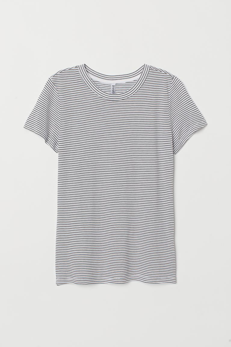 T-shirt in jersey - Bianco/nero righe - DONNA | H&M IT