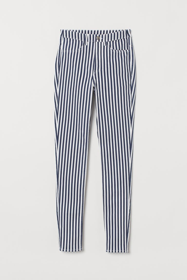 Super Skinny High Jeans - Dark blue/White striped - Ladies | H&M
