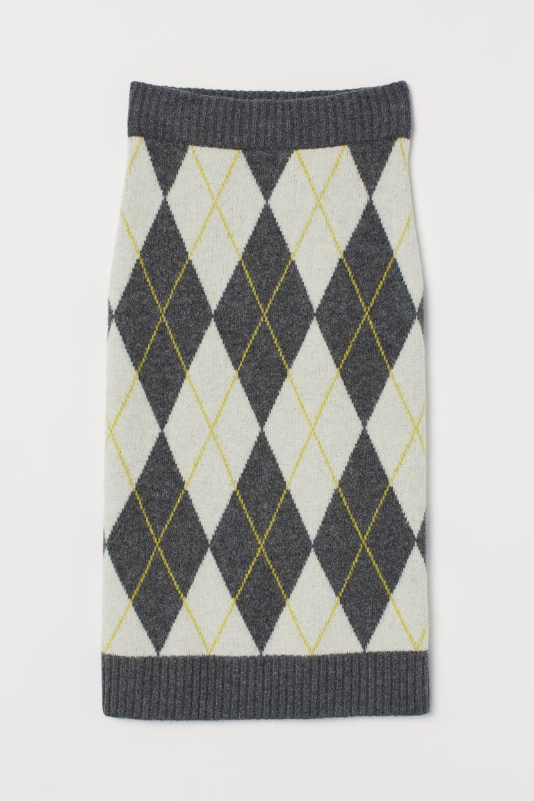 Jacquard-knit Skirt - Dark gray melange/argyle - Ladies | H&M US