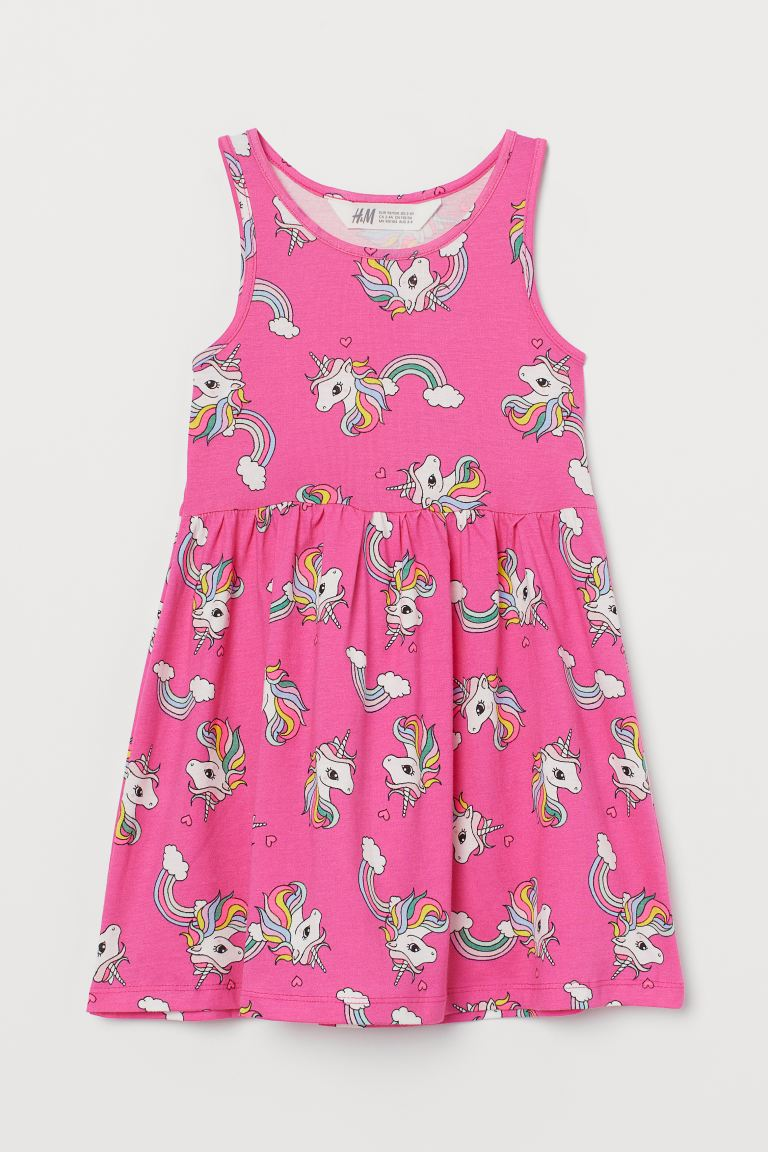 Patterned jersey dress - Cerise/Unicorns - Kids | H&M