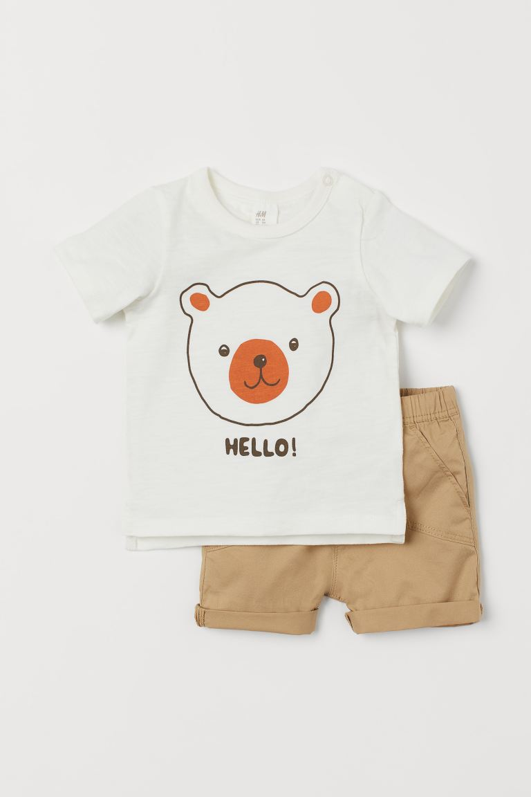 2-piece cotton set - Beige/Bear - Kids | H&M