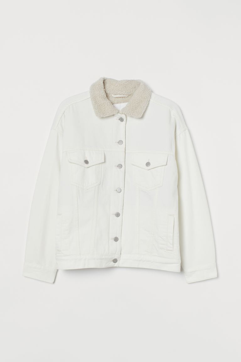 Oversized denim jacket - Cream - Ladies | H&M IE