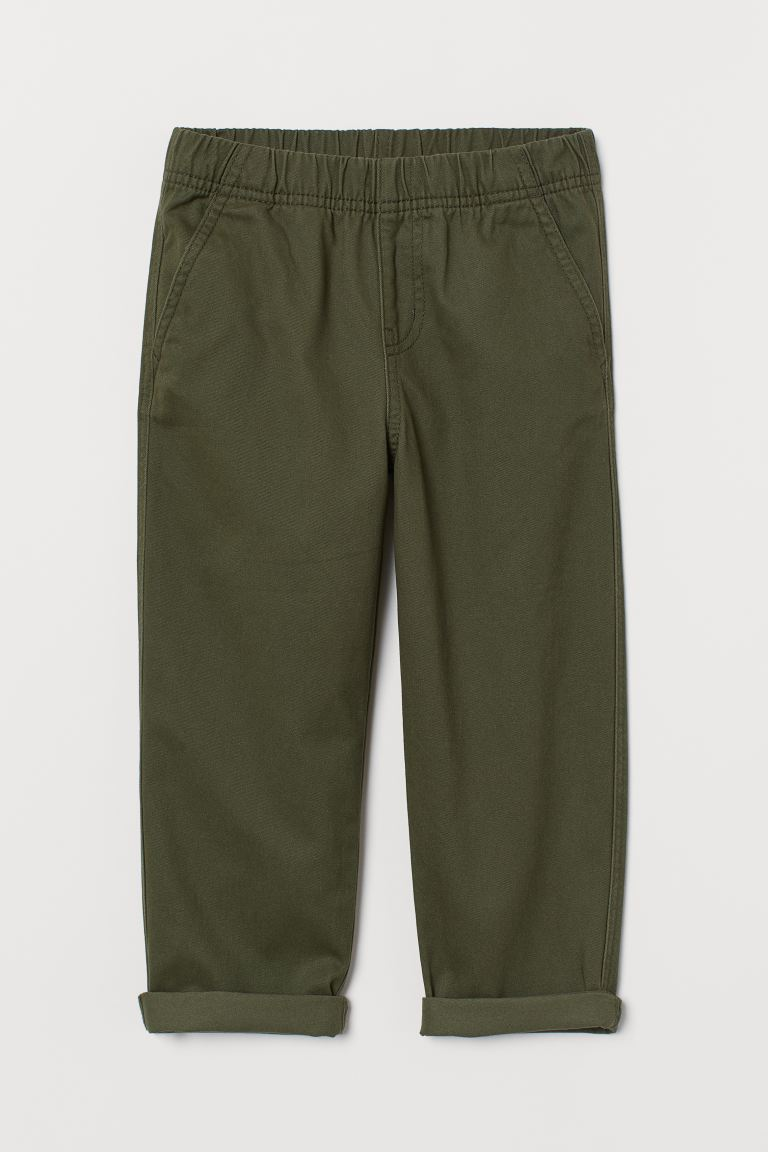 Pull-on cotton trousers - Khaki green - Kids | H&M