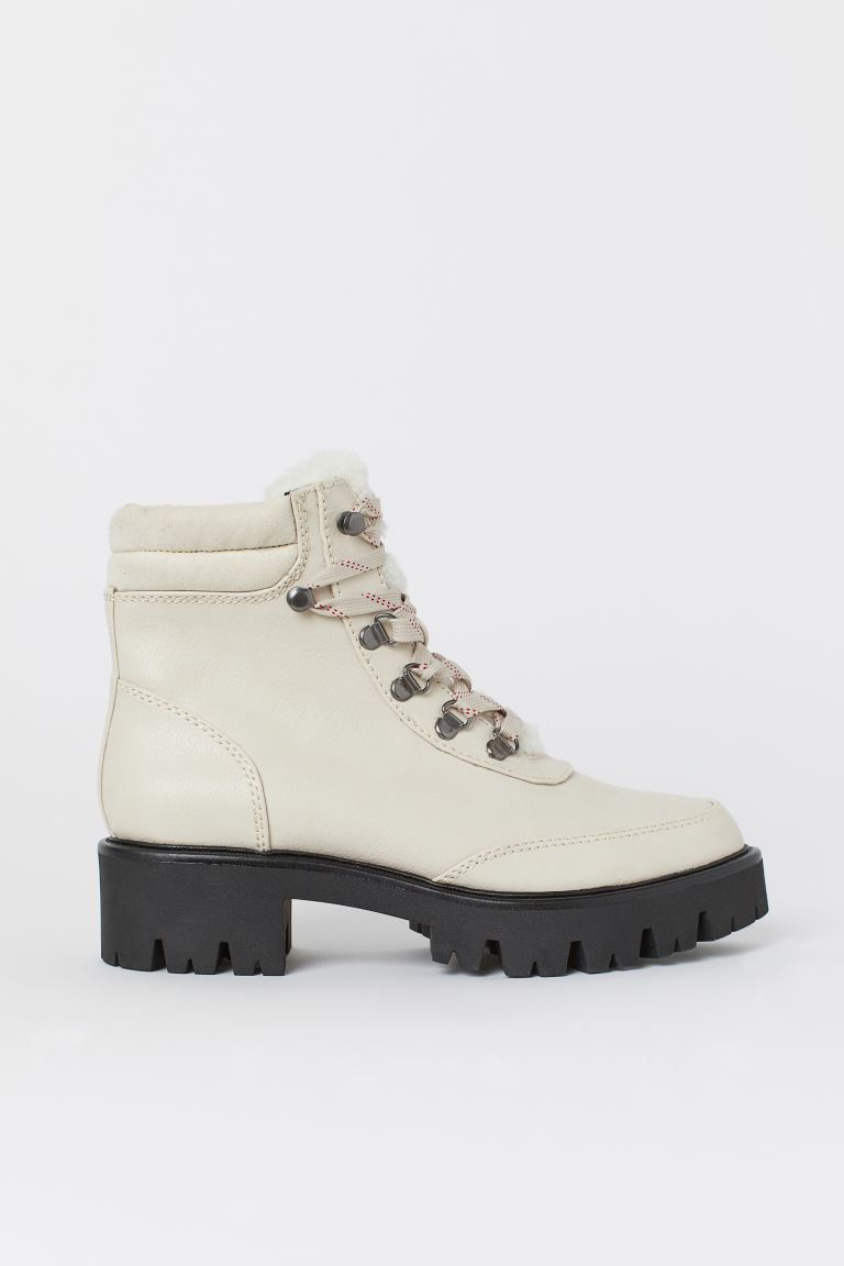 Pile-lined boots - Natural white - Ladies | H&M IE