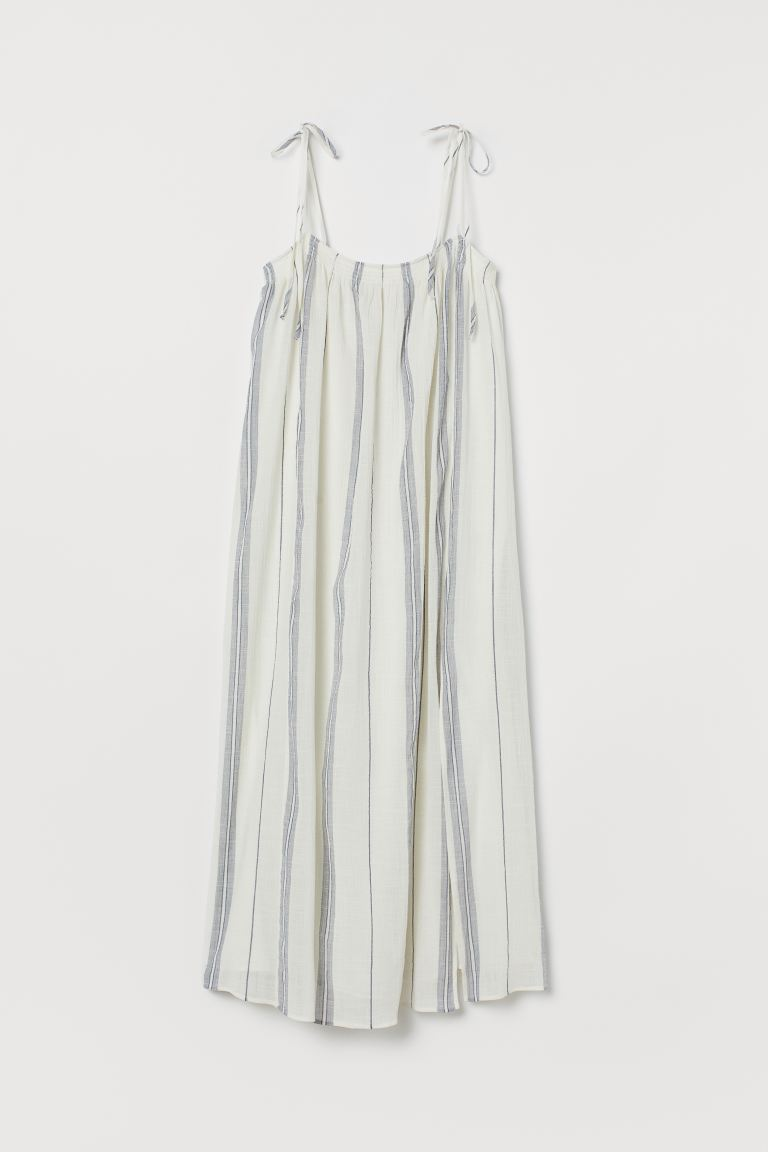 Wide dress - White/Blue striped - Ladies | H&M GB