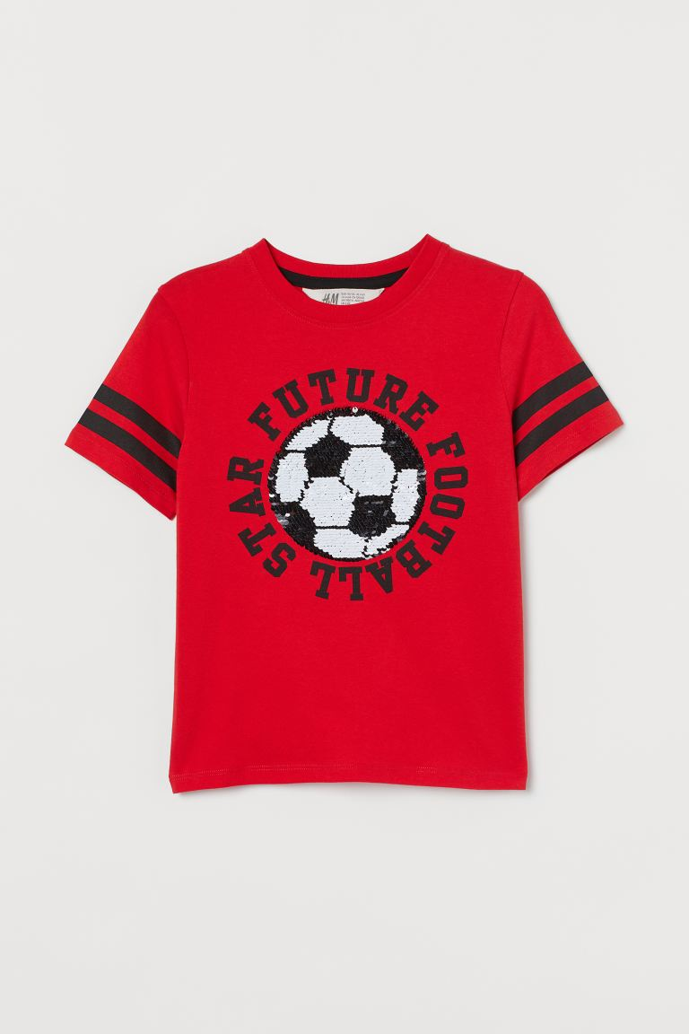 Reversible sequin T-shirt - Red/Football - Kids | H&M GB