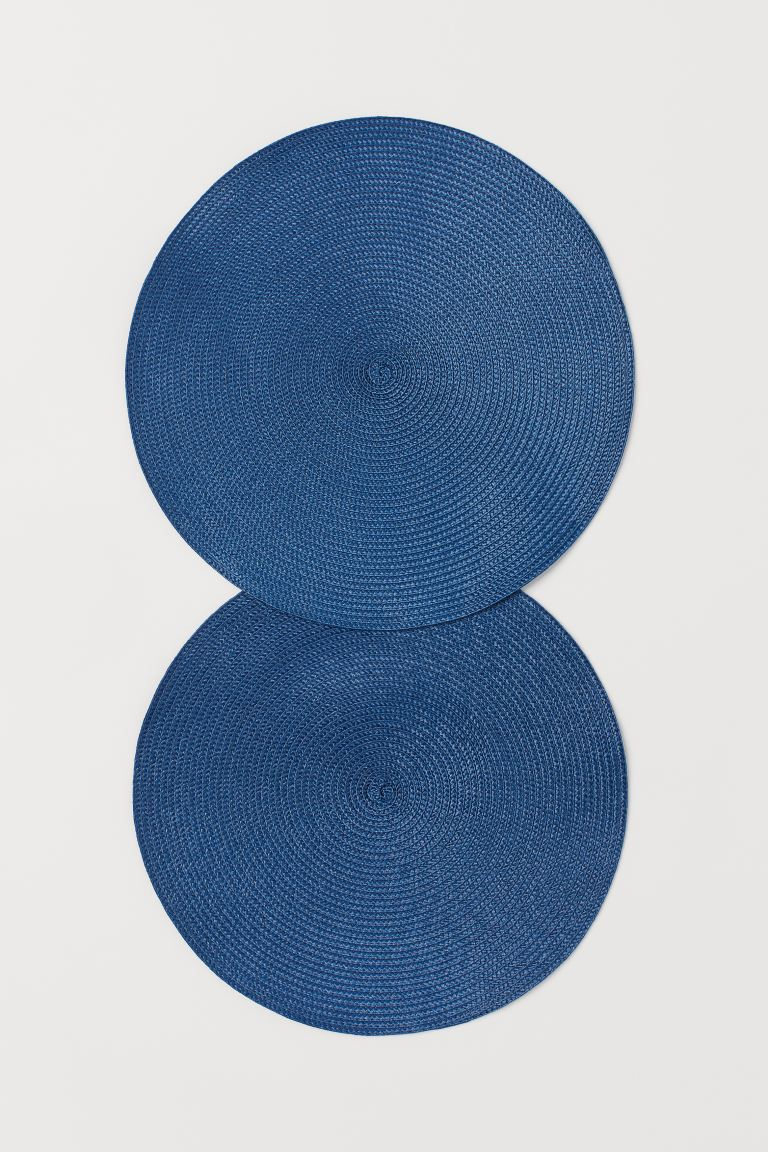 2-pack round table mats - Dark blue - Home All | H&M GB