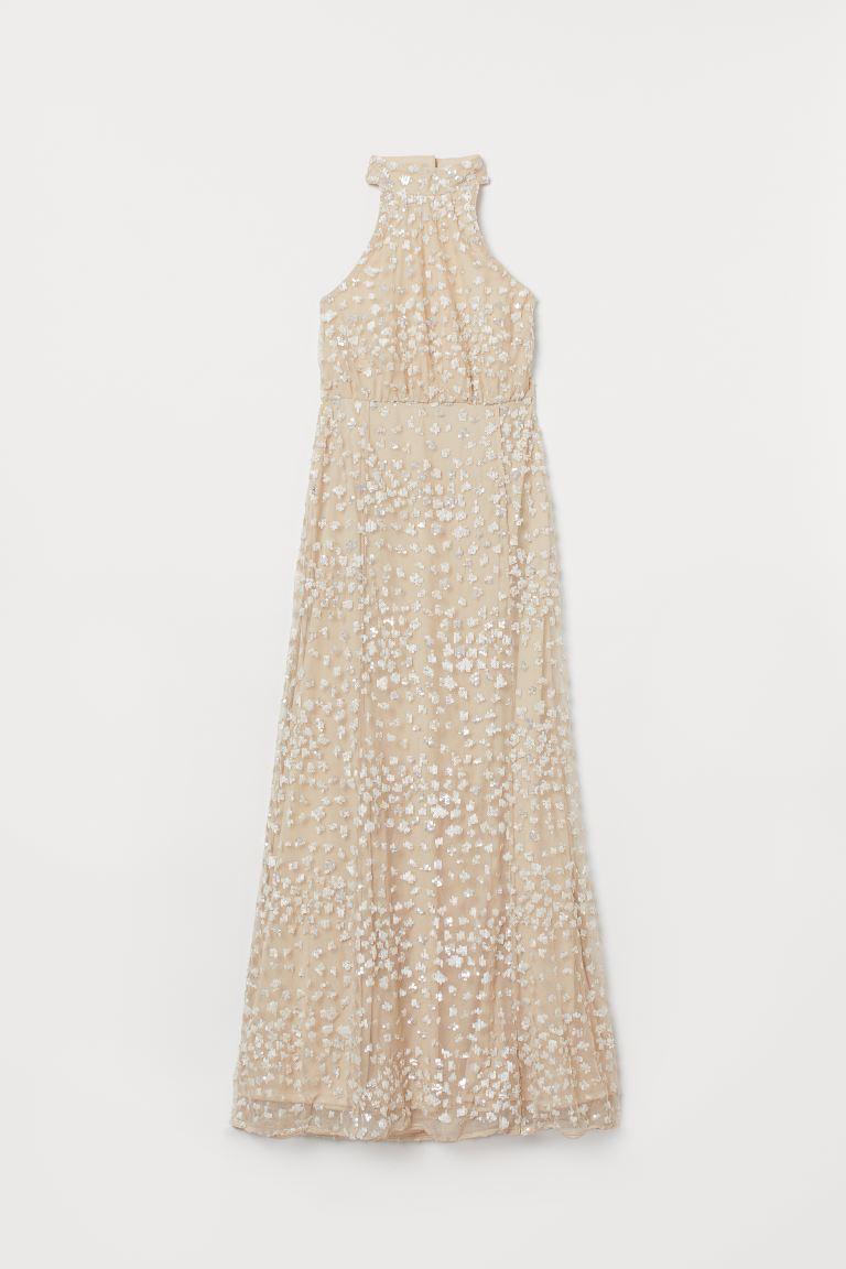 Langes Kleid mit Pailletten