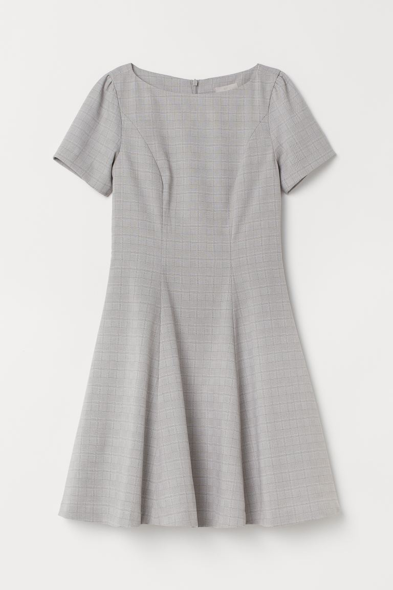 Puff-sleeved dress - Light grey/Checked - Ladies | H&M GB
