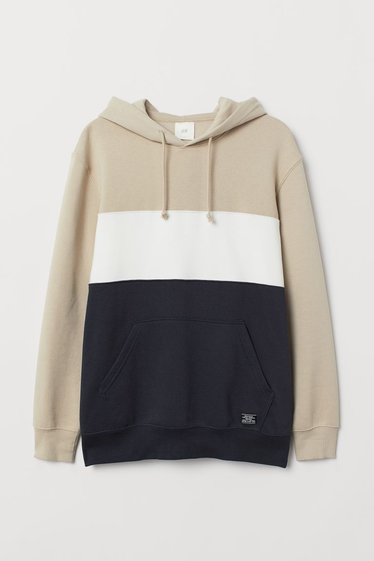 Sweat-shirt color block - Beige/bleu foncé - HOMME | H&M BE