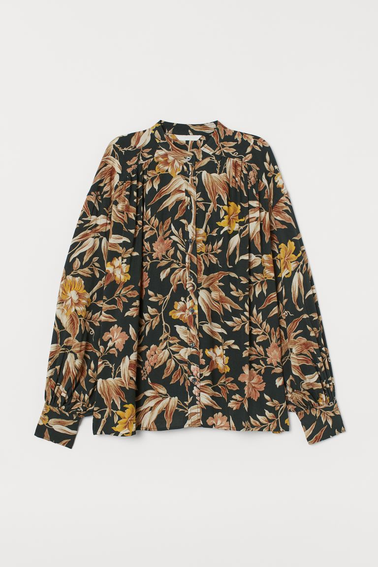 Wide blouse - Dark green/Floral - Ladies | H&M GB