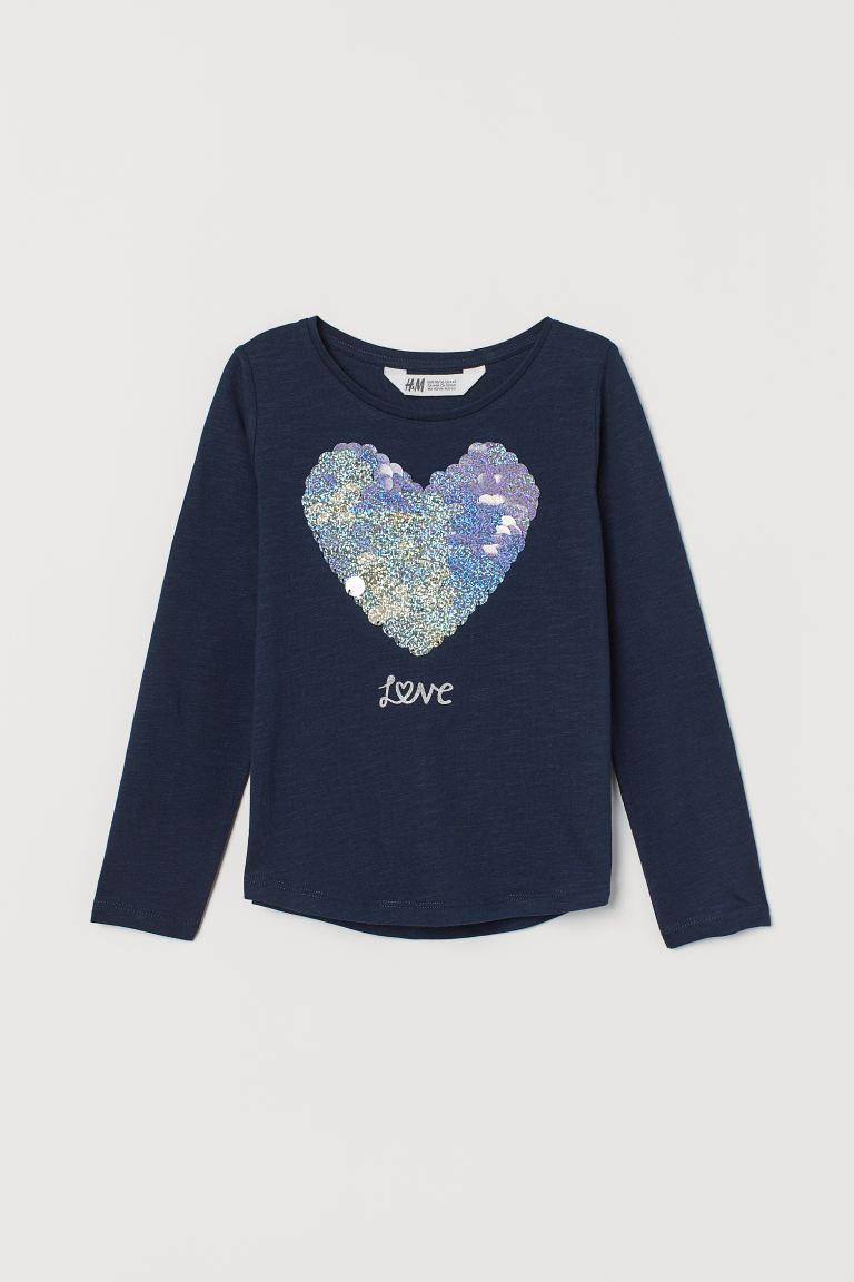 Top with Sequins - Dark blue/heart - Kids | H&M US