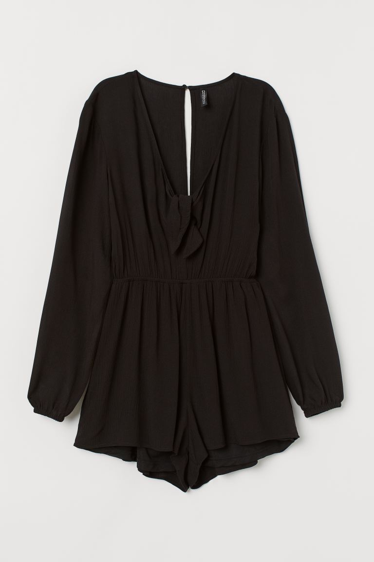 Romper with Knot Detail - Black - Ladies | H&M CA