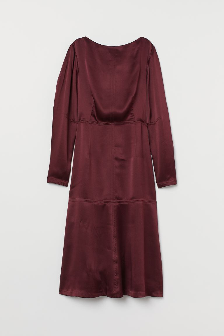 Silk boat-neck dress - Burgundy - Ladies | H&M GB