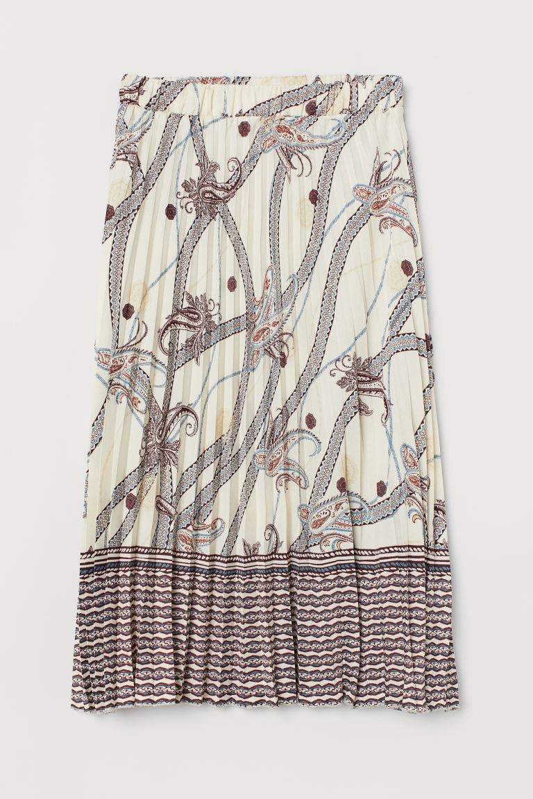 Pleated skirt - Cream/Paisley-patterned - Ladies | H&M GB