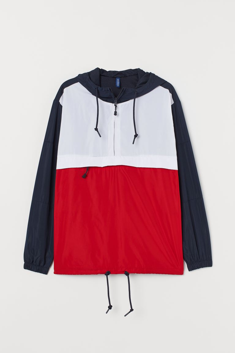 Hooded Anorak - White/red - Men | H&M US