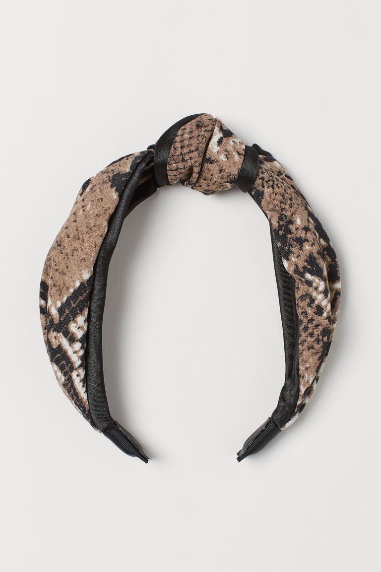 Hairband with Knot - Beige/snakeskin-patterned - Ladies | H&M US