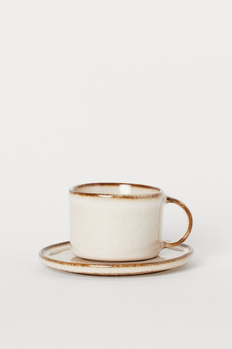 Ceramic cup and saucer - Beige - Home All | H&M GB