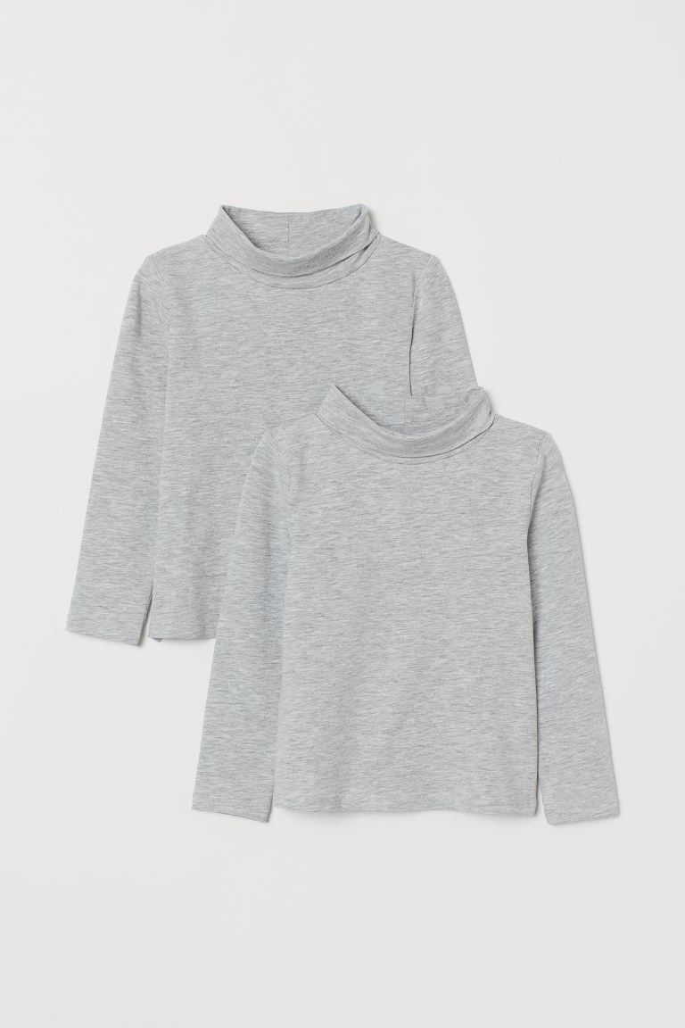 2-pack cotton polo-neck tops - Grey marl - Kids   H&M GB