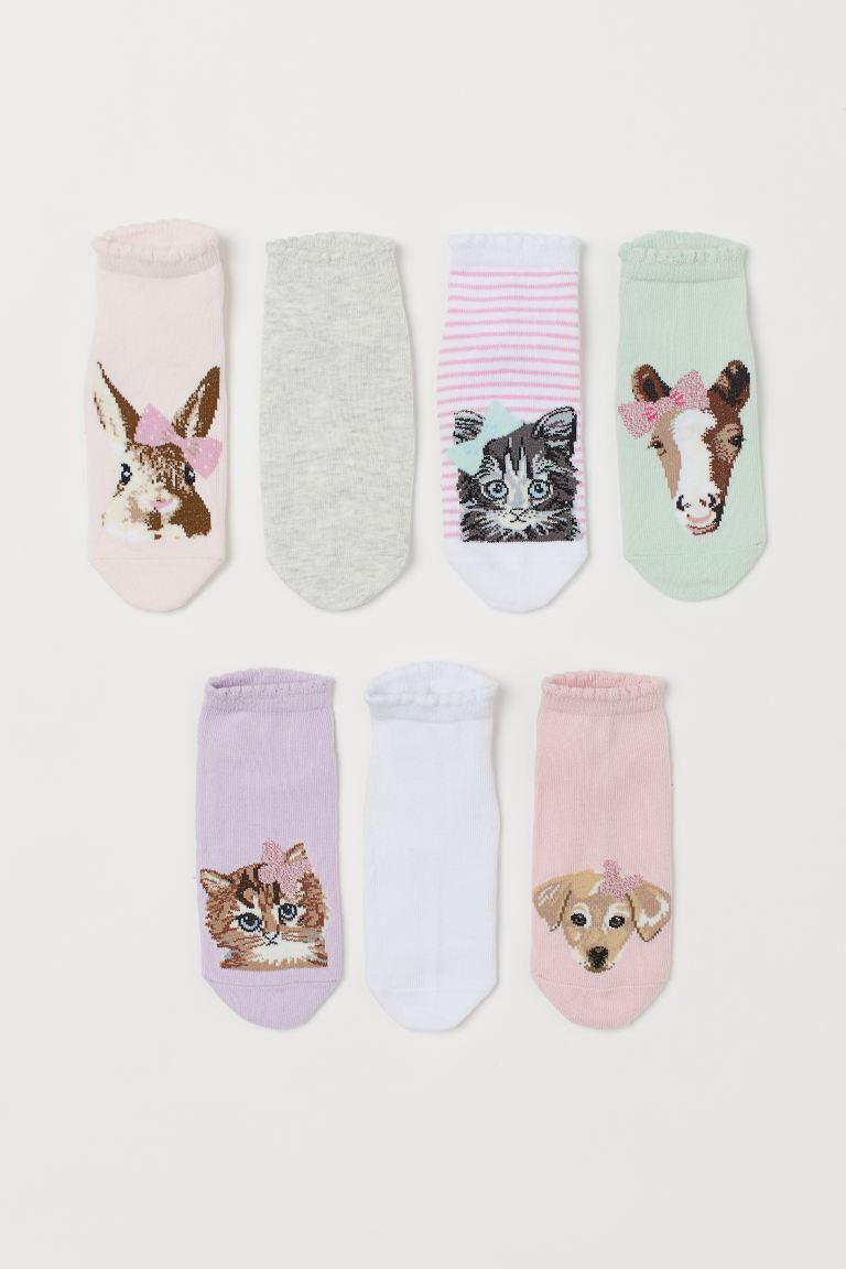 7-pack trainer socks - Light pink/Rabbit - Kids   H&M GB