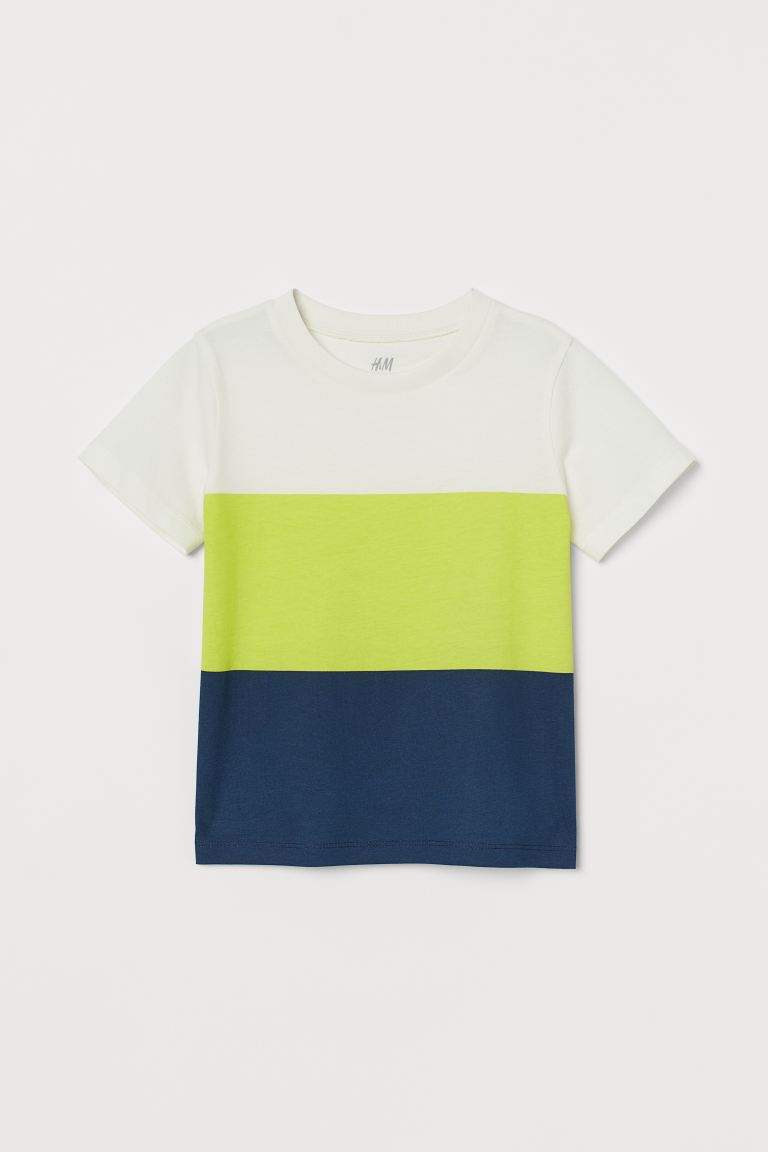 Cotton T-shirt - Neon green/Block-coloured - Kids | H&M IE