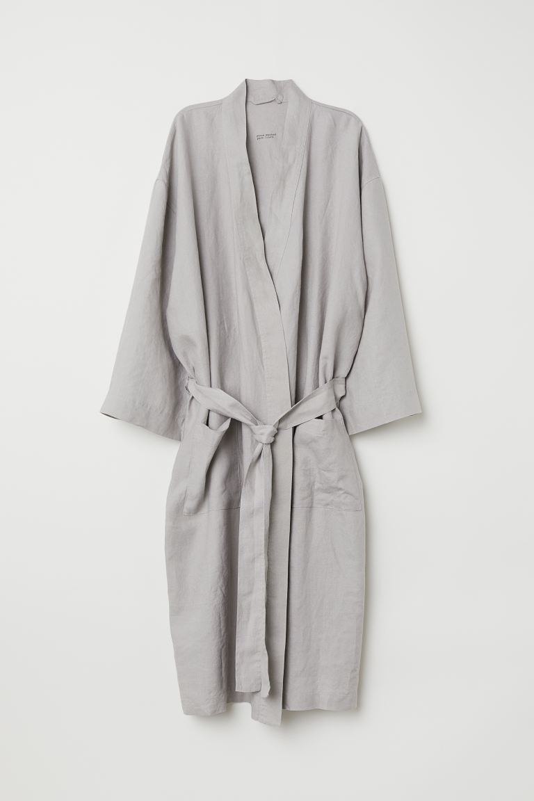Washed linen dressing gown - Light mole - Home All | H&M GB