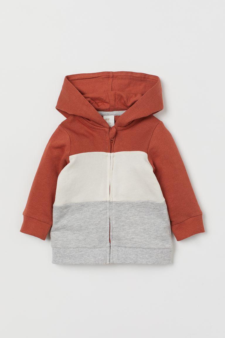 Cotton zip-through hoodie - Brick red/Block-coloured - Kids | H&M GB