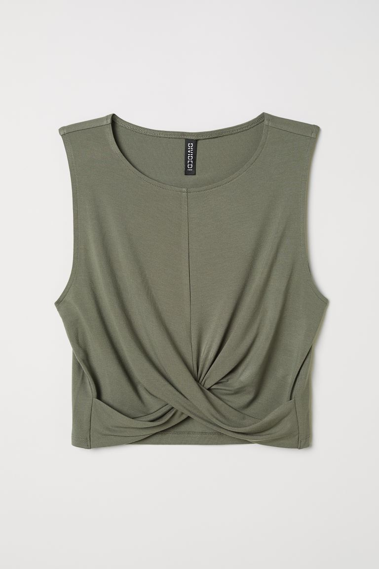 Jersey top - Khaki green - Ladies | H&M GB
