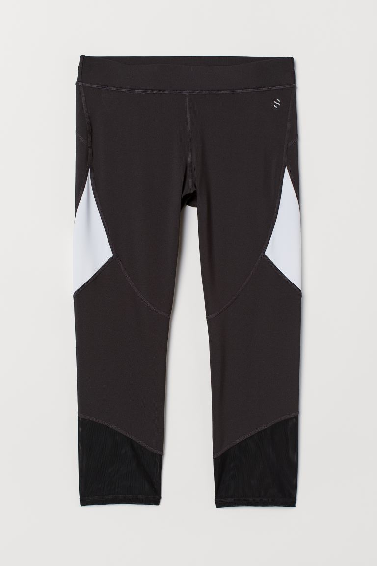 3/4-length running tights - Black/White - Ladies | H&M GB