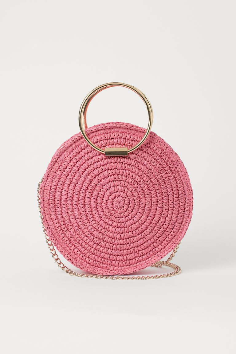 Round straw shoulder bag - Pink - Ladies | H&M IE