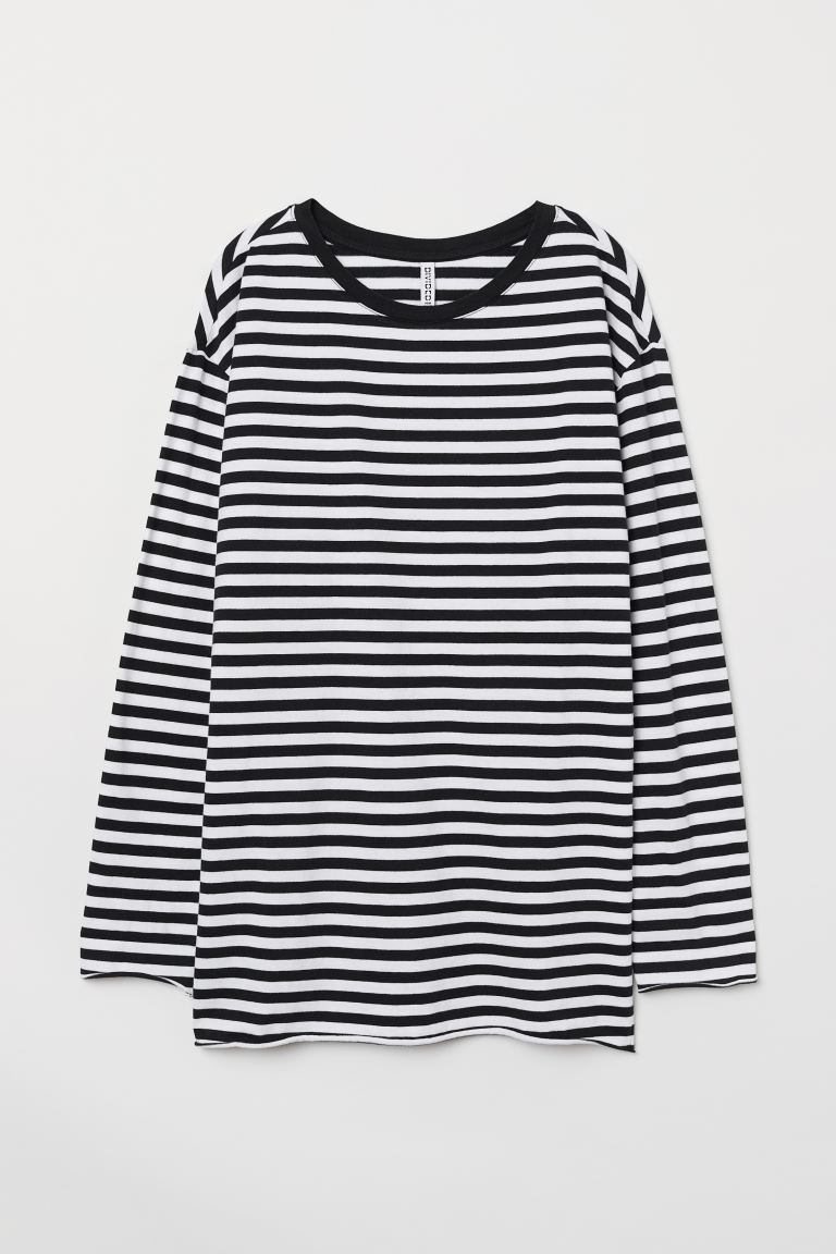 Oversized Jersey Top - Black/white striped - Ladies | H&M US