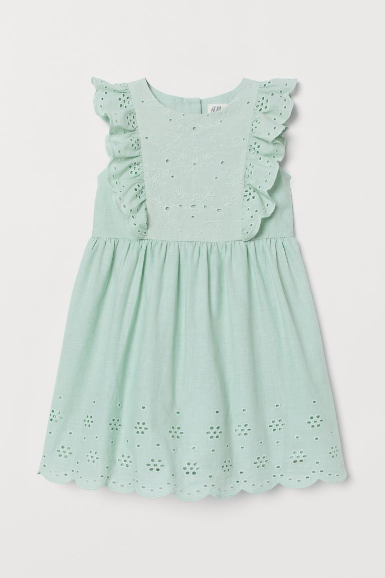Dress with Eyelet Embroidery - Light turquoise - Kids | H&M US
