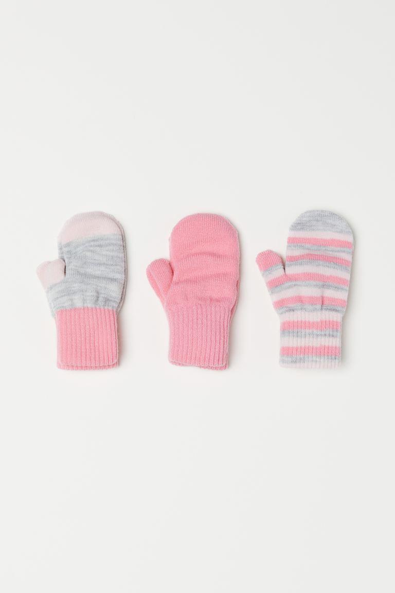 3-pack mittens - Light pink/Striped -    H&M GB