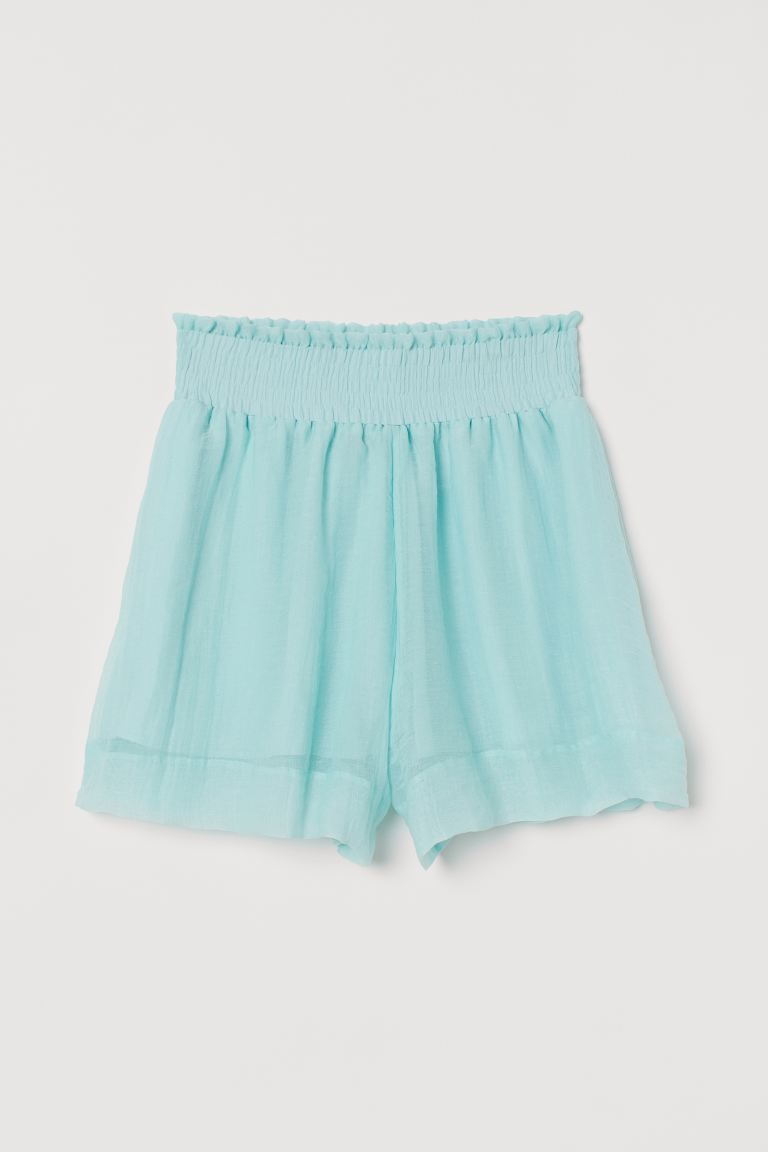 Shorts with Smocking - Light turquoise - Ladies | H&M US