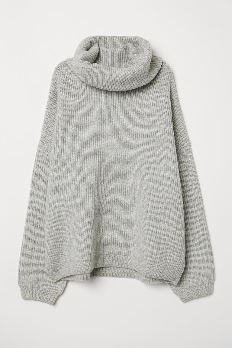 Ribbed Turtleneck Sweater - Light gray melange - Ladies | H&M US