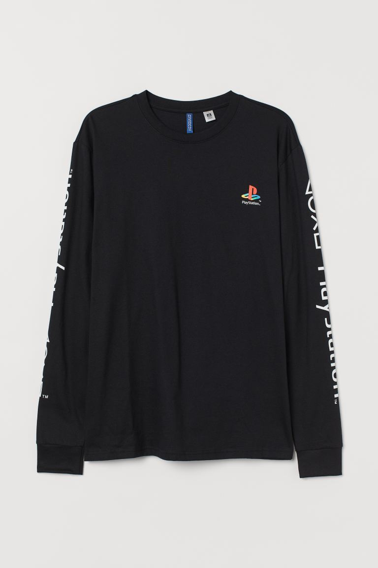 Printed jersey top - Black/PlayStation - Men | H&M