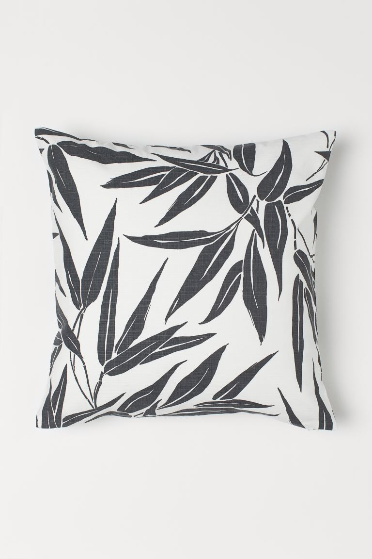 Leaf-patterned cushion cover - White/Dark grey - Home All | H&M GB