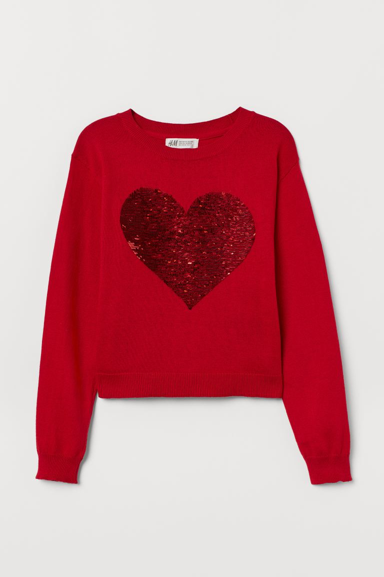 Reversible-sequin Sweater - Red/heart - Kids | H&M CA