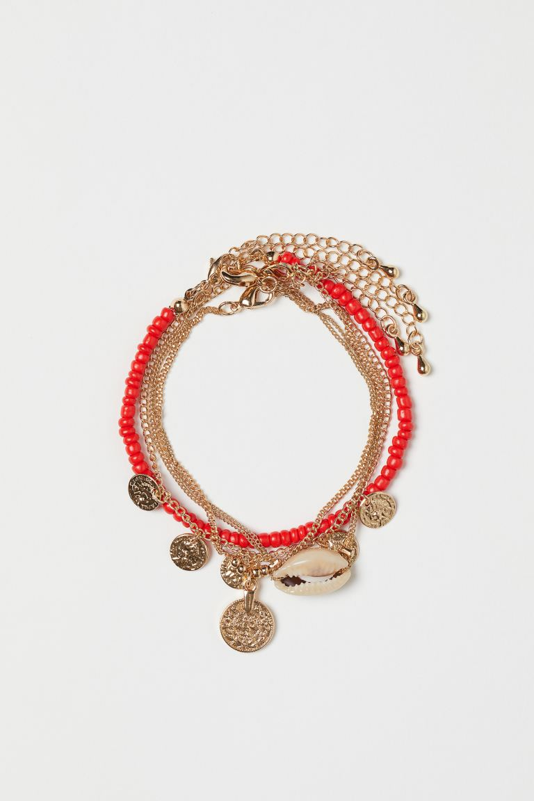 4-pack Bracelets - Gold-colored/light red - Ladies | H&M US