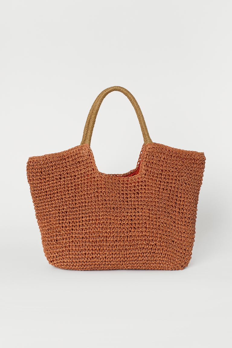 Paper straw shopper - Dark orange - Ladies | H&M IE